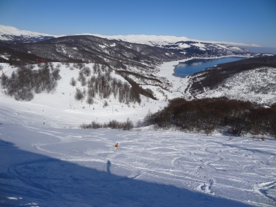 Lakeside skiing in Mavrovo, Macedonia