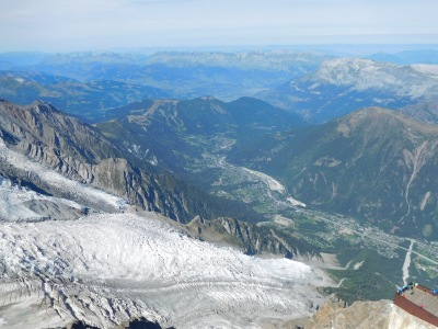 Looking down the Chamonix valley towards Les Houches across the Bossons Glacier