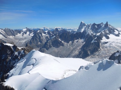 View down the famous arête and across to Switzerland from the top of the Aiguille de Midi