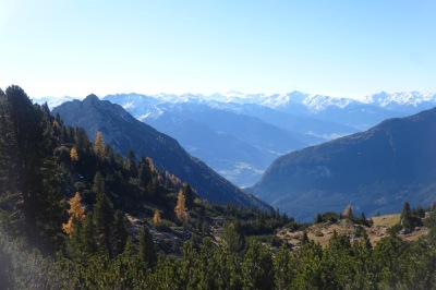 The view across towards the Dolomites