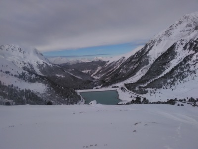 Stunning views on a powder day in Khutai