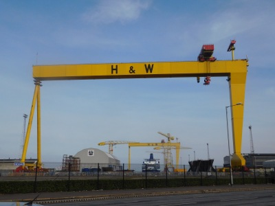 The iconic Harland and Wolff cranes, also know as Samson and Goliath, which dominate the Belfast skyline